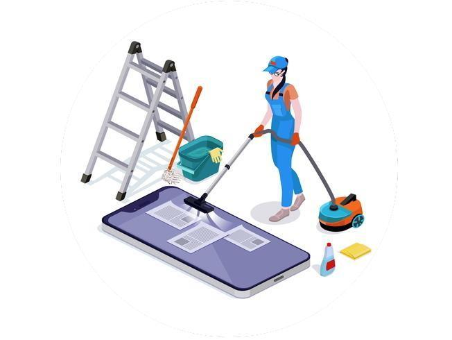 Woman dressed in uniform delete files off from mobiles cleaning and vacuums the phone vector 2